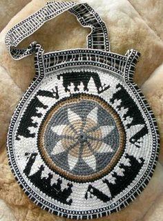 Peruvian Rounded Crochet Handbag Cocoa Leaf