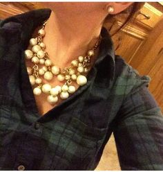 Loving the juxtaposition of casual plaid with statement necklaces. Grab these perfect baubles, the daphne pearl necklace at: www.stelladot.com/sites/stephaniehealey