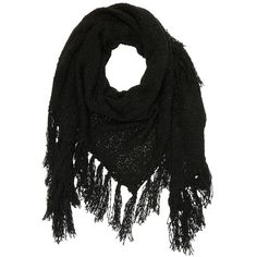Charlotte Russe Black Fringe Triangle Wrap Scarf by Charlotte Russe at... (£11) ❤ liked on Polyvore featuring accessories, scarves, black, wrap shawl, black shawl, black fringed shawl, triangular shawl and triangle scarves