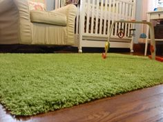 "Rug that looks like grass for L's ""fairy forest bedroom"""