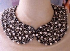 collier col claudine noir et argent, Bijoux, Collier - PrimaCréa