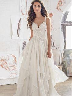 A-line Straps Sweep/Brush Train Sleeveless Chiffon Wedding Dress # VB401
