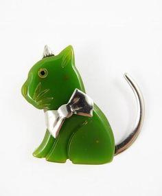 Vintage 1930s 1940s Chrome Green Bakelite Cat Brooch
