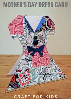 Lovely Mother's Day Dress Card Idea. #mothersday #mothersdaygift #kidscraft
