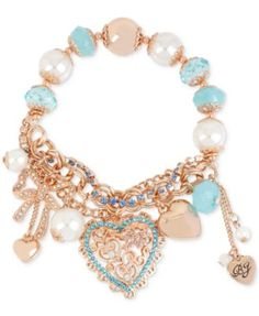 Betsey Johnson Rose Gold-Tone Heart Charm and Faceted Bead Stretch Bracelet