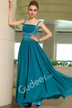 teal embroidery and pleated chiffon long evening formal dress with spaghetti strap