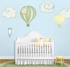Lovely hot-air balloon wall decals and cloud wall stickers {by My Wonderful Walls}. Available in different 4 color schemes. Easy peel and stick! Wall Stickers For Baby Nursery, Nursery Wall Decor, Nursery Themes, Nursery Room, Wall Decals, Baby Bedroom, Wall Mural, Balloon Clouds, Hot Air Balloon