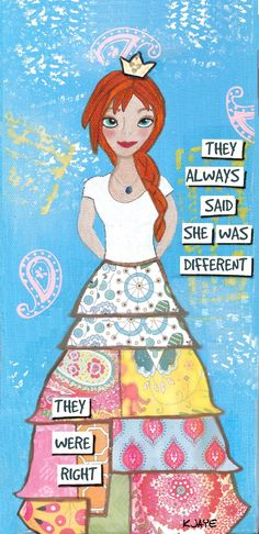 Quilting Girls - Mixed Media Art Greeting Card - She was different, and that's just the way she liked it! Perfect for sending or framing.