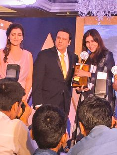 Award of excellence in writing for best columnist by the 'make in india' team by ministry of commerce received by me from the hands of the quirky and fab Bollywood star #Govinda