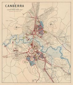 """Canberra map - Old map print - 24 x 28"""""""