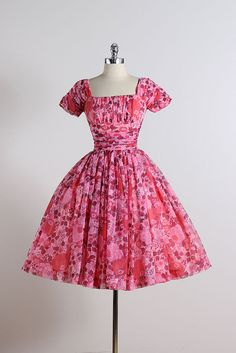 Cherry Blossom . vintage 1950s dress . by millstreetvintage