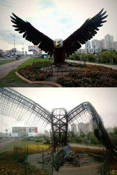 Russian gang burns eagle statue in Kyiv, Ukraine on 4th of July - Independence Day.
