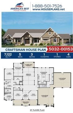 Build big with Plan 5032-00153, a Craftsman design completed by 7,122 sq. ft., 5 bedrooms, 3.5 bathrooms, an office area, a keepig room, a covered porch, and the side entry garage feature. Find more details about this design on our website. Craftsman Style Homes, Craftsman House Plans, Architectural Elements, Natural Materials, Square Feet, Art Decor, Porch, Floor Plans, House Design