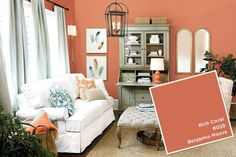 Benjamin Moore's Rich Coral paint color from Ballard Designs catalog