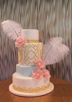 Art Deco Gatsby Peonies Cake