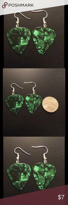 NWOT handmade green/black guitar pick earrings NWOT handmade green/black guitar pick earrings Jewelry Earrings