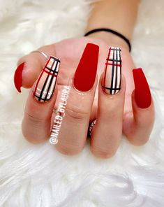 Nageldesign Burberry Nails - Long Nail Designs - How to Choose Long Nail Designs, Fall Nail Art Designs, Red Nail Designs, Toe Designs, Red Acrylic Nails, Summer Acrylic Nails, Gel Nails, Coffin Nails, Red Matte Nails