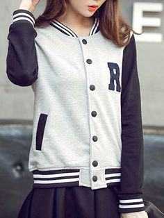 Casual Stand-Up Collar Long Sleeve Striped Letter Pattern Women's Jacket