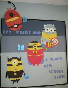 """Back to school bulletin board in the public library, starring minions as superheroes Batman, Superman, Captain America, and Spiderman. """"Get Ready for a Super New School Year. Minion Bulletin Board, Superhero Bulletin Boards, Minion Classroom, Superhero Classroom Theme, Back To School Bulletin Boards, Classroom Bulletin Boards, Classroom Themes, Library Themes, Library Displays"""