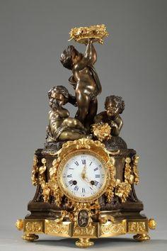 Pendule colonne aux putti de style Louis XVI signée Raingo Frères, XIXe siècle