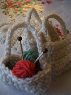 Yarn Basket Ornament--originally a Red Heart knitting pattern, but modified for crochet! So cute/easy!