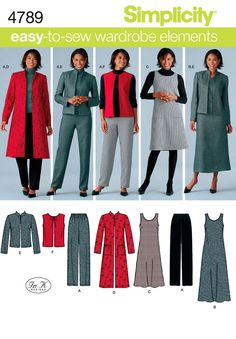 308 Simplicity 4789 Womens Pants Vest Jumper Jacket size 10 12 14 16 18 Easy to Sew Wardrobe Petite to Plus Size Sewing Pattern Uncut by ladydiamond46 on Etsy