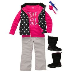"""Puffy polka dot vest over """"I give the best hugs"""" graphic tee and fleece-lined pants for extra warmth. #carters"""