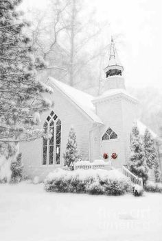 Snowy white church photo