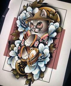 Bunny Tattoos, Animal Tattoos, Cute Tattoos, Dragon Tattoo Arm, Arm Tattoo, Sleeve Tattoos, Japanese Tattoo Art, Japanese Art, Japanese Sleeve