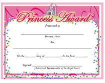 Education Certificate - Princess Award Certificate ...