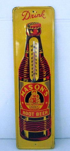 Mason's Root Beer Vintage Thermometer (Old Antique Soda Pop Beverage Drink Advertising Embossed Sign)