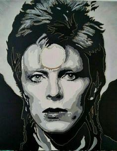 David Bowie gemaakt door Carola van de Broek - Bosfire PopArt. Vanaf 14 maart ter expositie in Klein in Concept Haarlem  Afmeting: L100xB100 Prijs: €1250,-  Klein in Concept Wolstraat 6 Haarlem www.kleininconcept.nl info@kleininconcept.nl