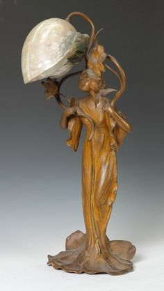 Art Nouveau Nautilus Seashell Shell Shade Lady Figural Spelter Lamp.