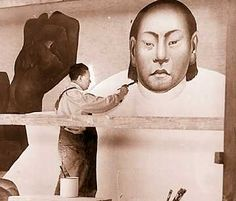 """""""Diego Rivera"""" working on the mural at the DIA...it's Astounding!"""