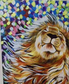 Happy Lion painting with flowing mane and spots of color in background. Lion of Judah prophetic art. Acrylic Painting Inspiration, Acrylic Painting For Beginners, Simple Acrylic Paintings, Beginner Painting, Easy Paintings, Animal Paintings, Lion Painting, Painting & Drawing, Prophetic Art