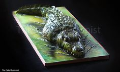 www.thecakeillusionist.co.uk Alligator cake, crocodile cake, cake art, animal cake, sculpted cake
