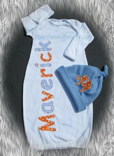 Personalized Baby Boy Gown Personalized by PeaceLoveandPaisley, $18.50