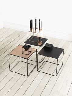 Stolik Twin table- miedziano,czarny - by Lassen