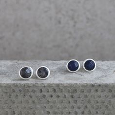 Blue and grey faceted round stone studs with Antique Silver plating.  Designed by Tutti&Co AW14 (EA53S/EA54S)