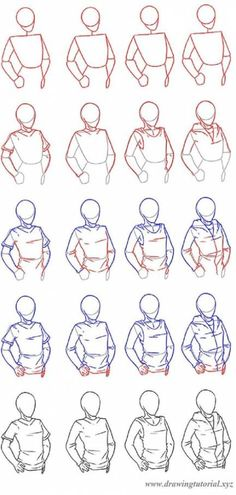 manga drawing techniques how to draw clothing - how to draw a man or a woman wearing a t-shirt, a top or a hoodie - step by step tutorial - drawing reference - Shirt Sketch, Shirt Drawing, Guy Drawing, Manga Drawing, Drawing People, Drawing Reference, Drawing Sketches, How To Draw Manga, Drawing Tips