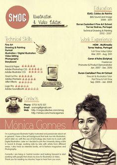 Monica Gomes SMOG Creative CV #resume #design #graphique #vintage #draw