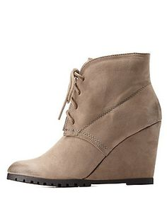 Qupid Lace-Up Wedge Booties: Charlotte Russe
