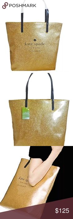 ✨NWT Kate Spade Gold Bon Shopper Tote✨ ✨ NWT Kate Spade Gold Tote ✨Bring your look together with this casual-chic sparkling Hoiday Drive Bon Shopper from Kate Spade. kate spade Bags Totes