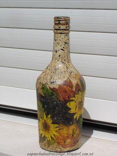 Botella con decoupage y craquelado