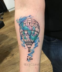 Watercolor Hot Air Balloon tattoo by Kylie Wild Heslop, Canberra, Australia based Tattoo Artist www.artgonewild.com.au