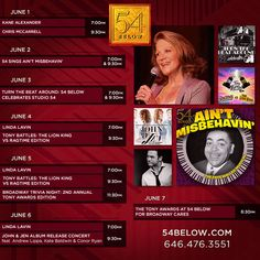 Week of June 1st, 2015 performance schedule. Click to buy tickets.