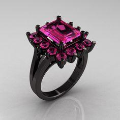 Modern Victorian 14K Black Gold 4.0 Carat Pink Sapphire Engagement Ring