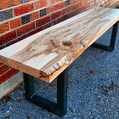 Custom spalted maple coffee table / bench we just completed for a client.  We used a clear satin finish on the wood to maximize the view of this amazing slab.  We mounted it on 2x2 industrial steel legs for a modern look.