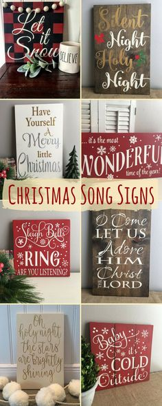christmas song signs home decor - Wooden Christmas Signs