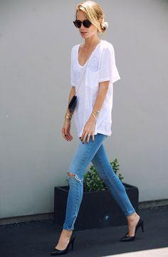 Look; Basic; Skinny jeans; Denim pants; White t-shirt denim; Black scarpin; Street style; Casual